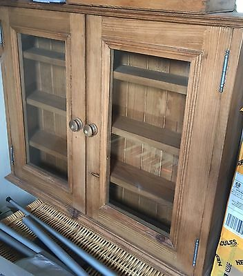 glass glazed PINE DISPLAY CASE cupboard cabinet Victorian style