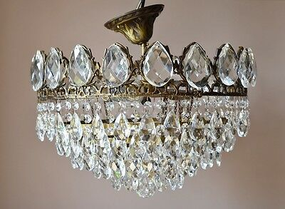 "16.14"" Chic 1940'S Antique French Vintage Crystal Chandelier Old Lamp Lighting"