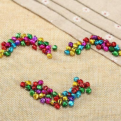100X Aluminum Beads Jingle Bells Mixed Color Festival Home Decor DIY Craft