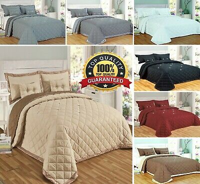 5 Pieces Diamond reversible Bedspread comforter Two Filled Decorative cushions