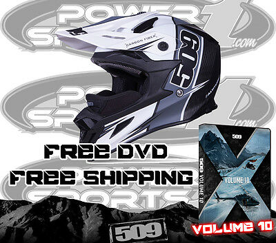 New 509 Altitude Carbon Fiber Snowmobile Helmet White Trace Large Free 509 Dvd