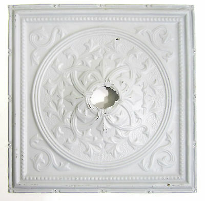 Architectural Antique Vtg 24 x 24 Pressed Tin Panel Ceiling Light Surround (B)