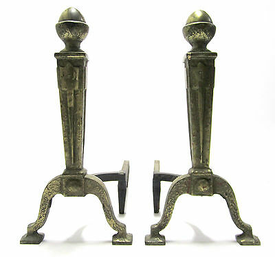 """Antique Vintage 18"""" Tall Cast Iron Art Deco Federal Fire Place Andirons No. 56"""