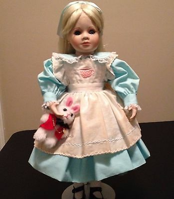 "MARIE OSMOND ALICE IN WONDERLAND 1996 PORCELAIN DOLL SIGNED 17""Tall"