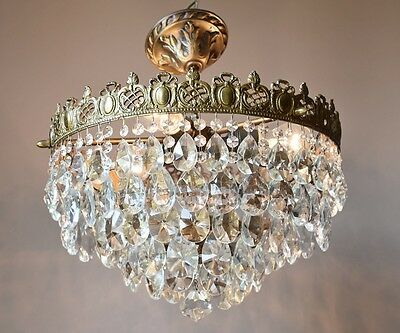 Rare Ornate 1940'S Antique French Vintage Crystal Chandelier Old Lamp Lighting