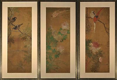 Antique triptychon, Japan or China, 3 folding screen paintings w birds / flowers