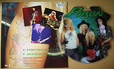 Ex/ex! Poison Every Rose Has Its Thorn Shaped Vinyl Picture Disc + Backing Card