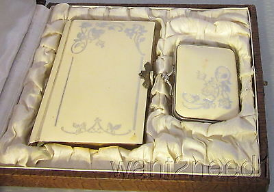 30s vtg French CELLUOID PRAYER BOOK & COIN PURSE ROSARY CASE set in box