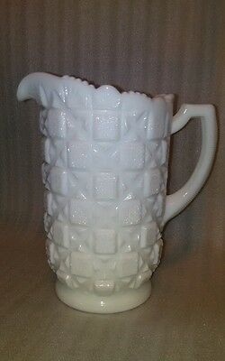 Westmoreland Old Quilt White Milk Glass Pitcher Vintage Perfect Condition Nice
