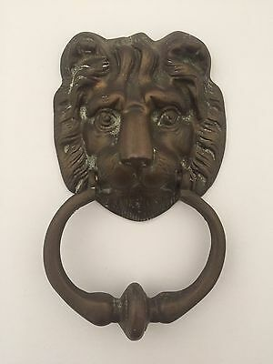 Vintage Mid Century Brass Imperial Lion Head Estate Door Knocker