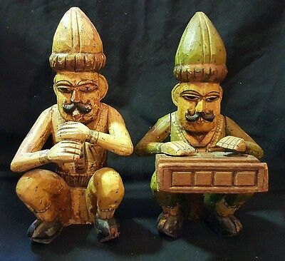 Vintage Pair Of Hand Carved & Painted Wooden Folk Art Musicians