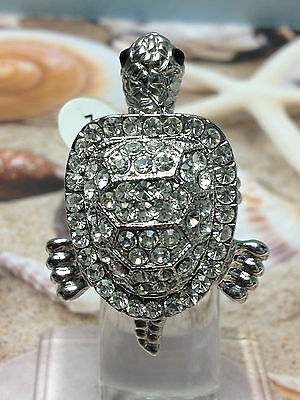 TURTLE SILVER RING w IRIDESCENT SPARKLING STONES  MOVING Head + Legs  NEW SIZE 8