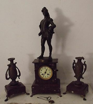 antiqe french mantel marble clock candelstick