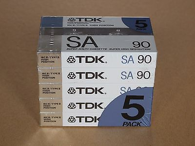 TDK SA90 Audio Cassettes 5-Pack ©1988 Made In West Germany New Sealed