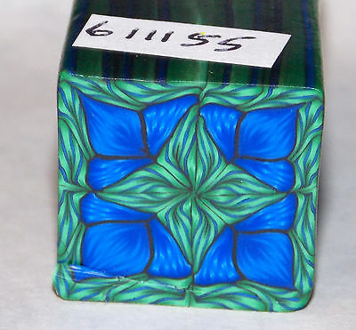 """polymer clay cane, raw, square   # 611155   7/8"""" x 1 5/8""""  1 ounce  blue, green"""
