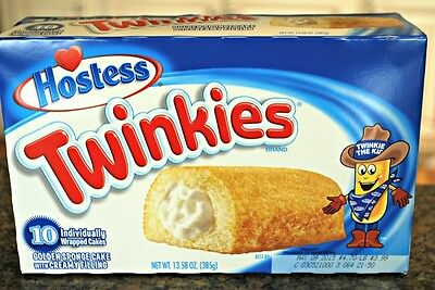 Hostess Twinkies. 10 Individually Wrapped Sponge Cakes With Creamy Filling.