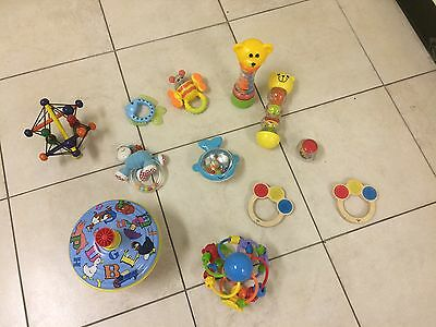 10 x Plastic Children Baby Toys Hand Rattle infants babies kids small toy ball