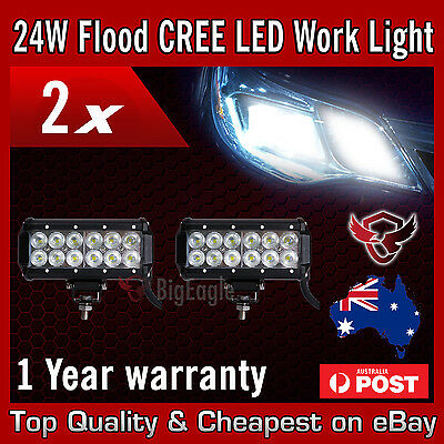 2 x 60w Cree LED Light Bar 7inch Flood Beam Offroad Work SUV 4WD Lamp