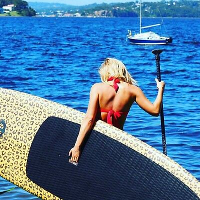 Leopard print Stand Up Paddleboard SUP package paddle bag leash fins RRP$2250!