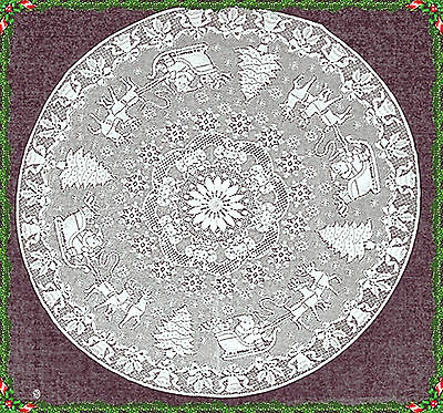 Table Topper Christmas Scene 44 Round White Lace Topper Oxford House NWOT
