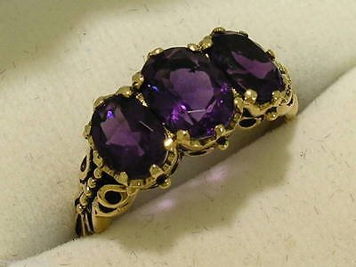 R097- Genuine 9ct Yellow Gold NATURAL Amethyst Trilogy Ring Anniversary size N