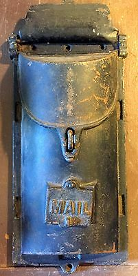 1900s Antique Cast Iron Wall Mount Two Door Lockable Mailbox w/ Peephole & Cover