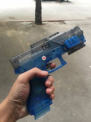Toy Gun Glock G18 Battery Powered Ice Blue Rare Jelly Bullet Pistol Watch Video