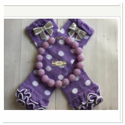 Baby Leg Warmers & Chunky Necklace Set Lavender And White Polka Dot