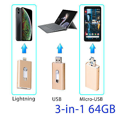 64GB Flash Drive Storage Mircro USB Memory Stick For iPhone/iPod IOS Android OTG
