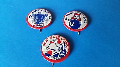 1950's-1960's- HEP CAT-I'M BEHIND THE 8 BALL+DON'T BE SO COCKY-PINBACK BUTTONS