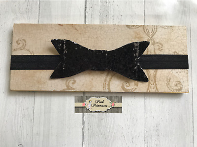 "Baby Headband Black Glitter 4"" Sparkle Bow Headband, Holiday Headband"