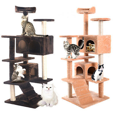 Cat Tree Tower Condo Furniture Scratching Post Kitty Pet House Play Two Colors