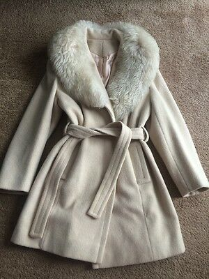 Vintage Wool Blend Light Beige Coat With Faux Fur Collar Size S M Glamorous