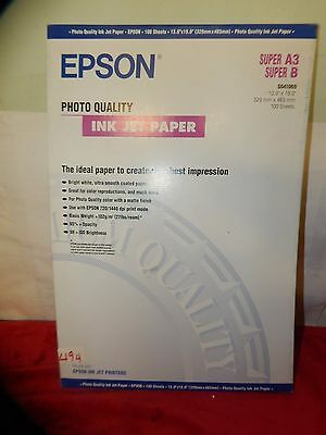 "nt494) Epson Photo Quality Ink Jet Paper 13X19"" Super B A3 100 Sheets"