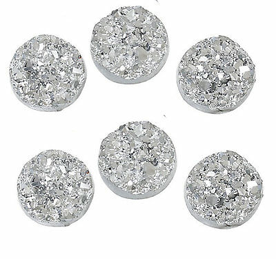10 x Druzy 12mm Cabochon in Light Silver AB Perfect for Earrings Drusy
