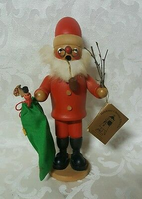 Holzkunst Christian Ulbricht Vintage Santa Claus Collectible Green Red Incent