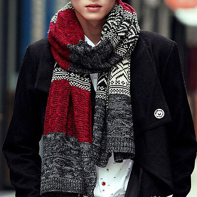 Fashion Men Knitted Plaid Shawl Winter Wool Warm Long Wrap Neck Scarf Scarves