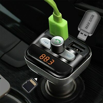 Car Mp3 Player Bluetooth FM Transmitter Car Kit LCD TF Dual USB Charger NR