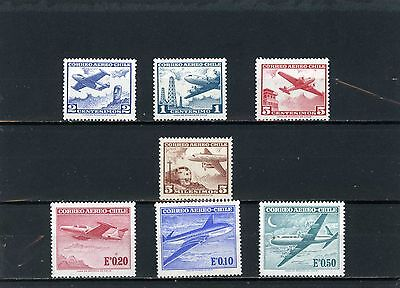 CHILE 1960-1967 Sc#C234-C240 AVIATION SET OF 7 STAMPS MNH/MLH