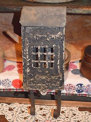 Rare Antique Cast Iron-Tin Wall Mount 2 Door Lockable Mailbox Grate Style Front