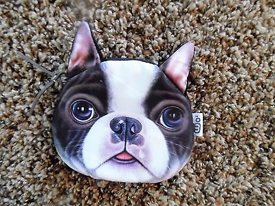 """Darling Soft Cotton Boston Terrier Coin Purse Or Make Up Bag! By Xdoll 4X5"""""""