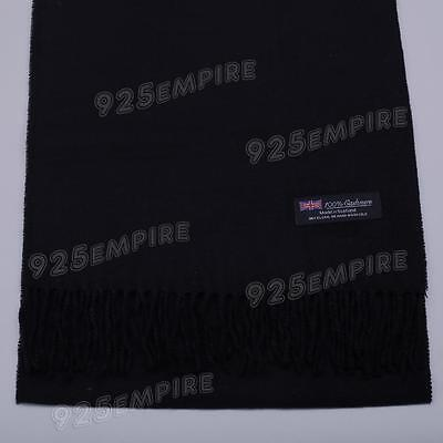 Men's 100% CASHMERE Warm PLAIN Scarf pure solid Black Wool MADE IN SCOTLAND