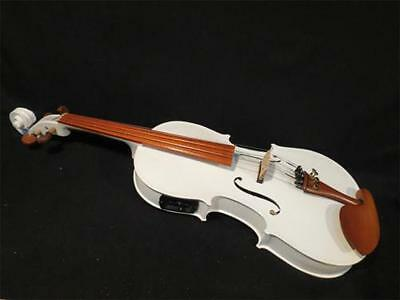 """Solid wood Guarneri style 15"""" White colors electric & acoustic viola #8648"""