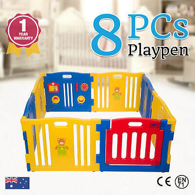 New Baby Kids Toddler 8 Pc Plastic Interactive Playpen W/ Safety Gate | Blue