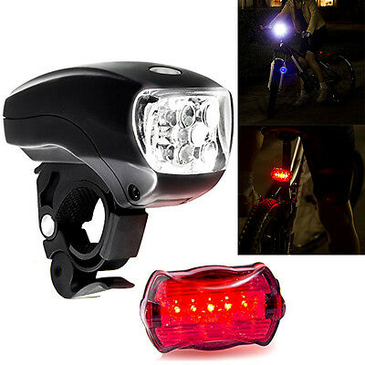 5 LED Cycle Bicycle Cycling Head Light Front Flashlight + Rear Tail Light Set