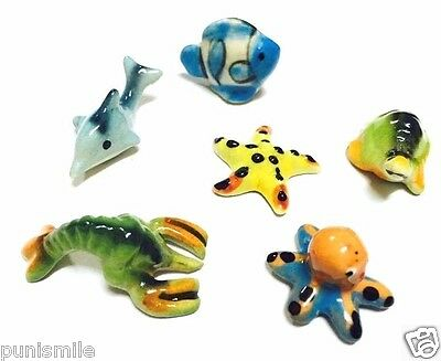 6Pcs Tiny Mix Cute Sea Aquatic Animal Ceramic Figurine Miniature Dollhouse Decor