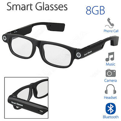 Smart Glasses Bluetooth 4.0 8GB With Headphone Camera Stereo Support Phone Calls