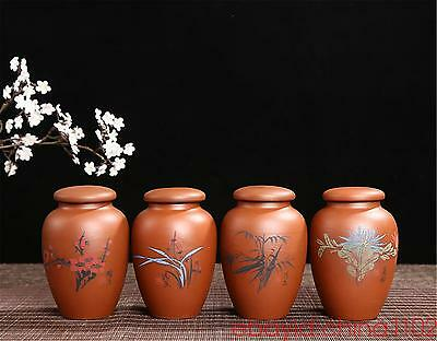 4 PCS chinese zisha jar vintage bottles and jars storage containers tea caddy