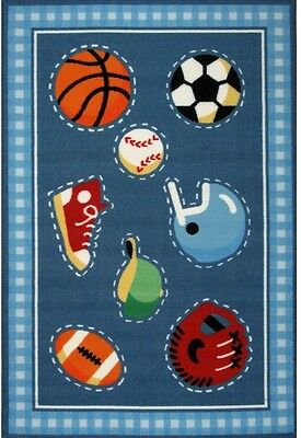 Ball Sports Child Kid Room Accent Area Rug Tufted Rectangle Water Resistant Blue