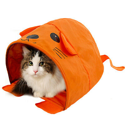 Pet Cat Tent Tunnel Bed Collapsible Summer Kitten Cat Beds House Tent Orange
